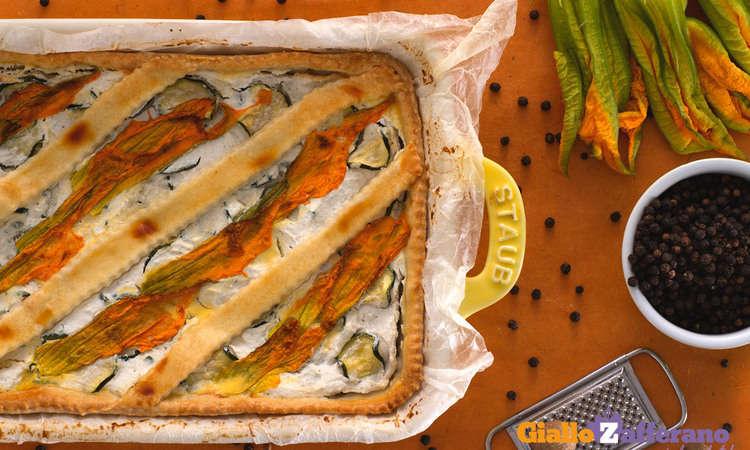 Crostata salata alla ricotta e fiori di zucca