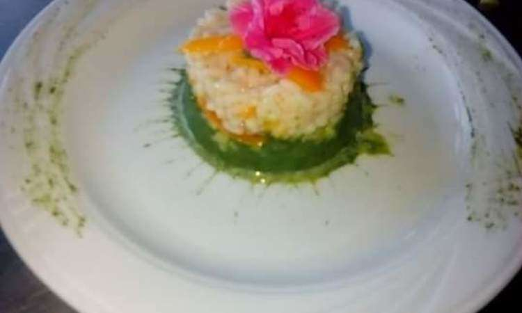 Tortino di riso con verdure su lettino Agro Dolce