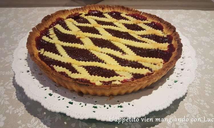Crostata con marmellata di lamponi e cioccolato bianco