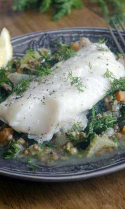 Insalata calda di lenticchie e merluzzo
