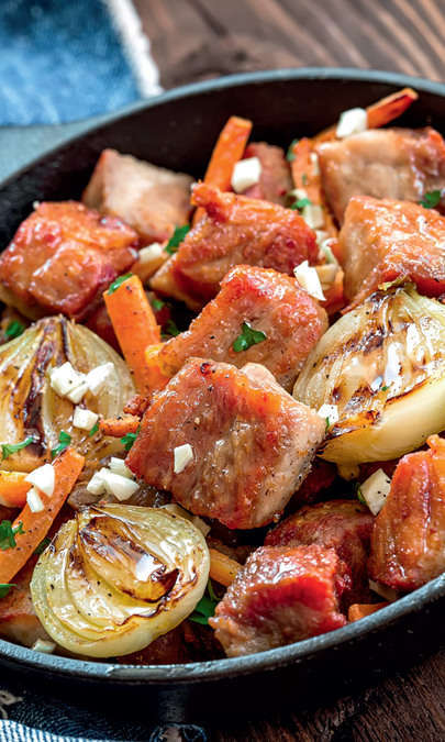 Sauté di verdure con filetto di maiale e fagiolini