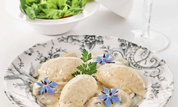 Quenelles di pollo ai funghi