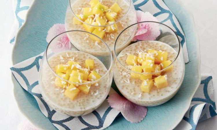 Perle di tapioca, cocco e mango