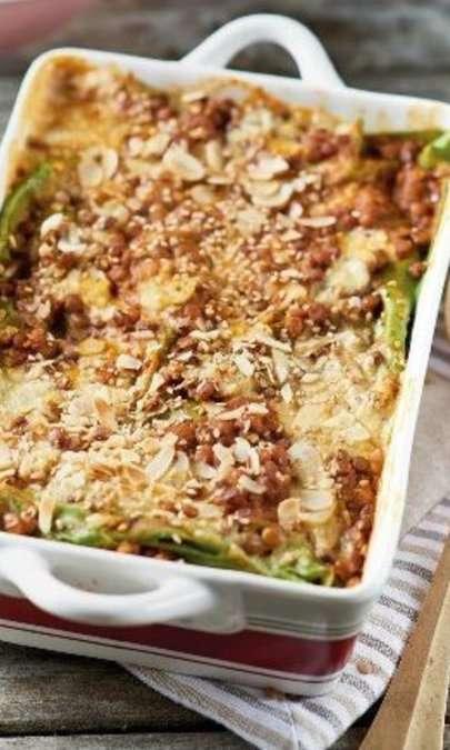Lasagne verdi con ragù di lenticchie
