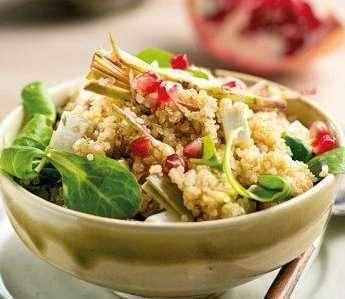 Quinoa con carciofi e melagrano