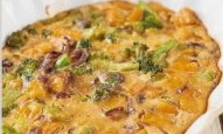 Tortino di farina di ceci, zucca broccoli e cipolla