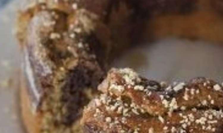 Ciambella all'olio variegata al cacao