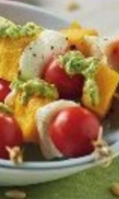 Spiedini di polenta mozzarella e pomodori
