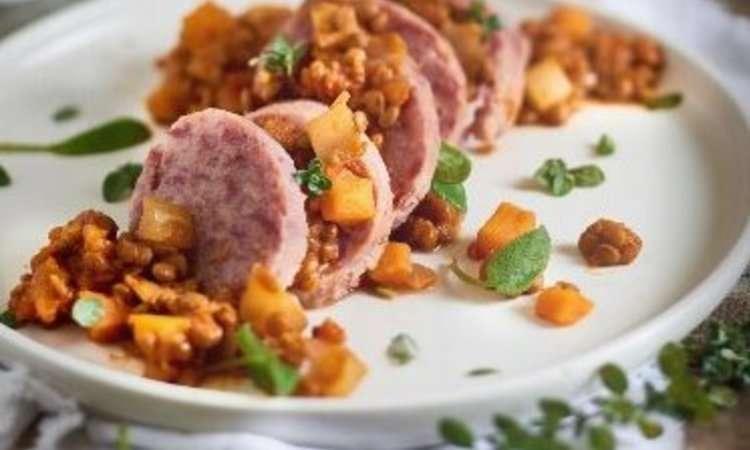 Rondelle di cotechino con lenticchie alle verdure