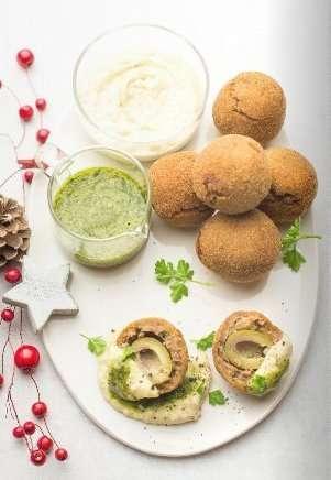 Olive all'ascolana al contrario con Hummus di cannellini e salsa verde