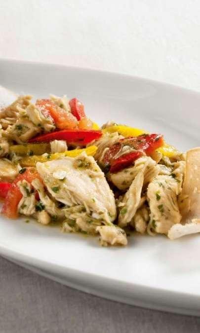 Fricassea di pollo alla romana con peperoni e acciughe